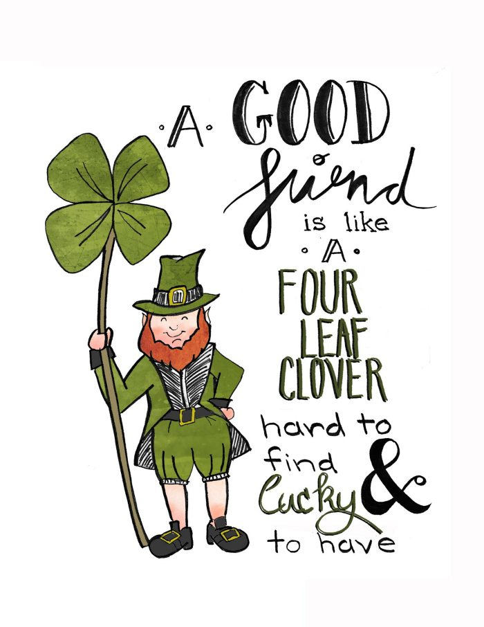 "This ""Lucky Friend Printable"" is ADORABLE and perfect for St. Patrick's Day. Print it out for a friend as a gift or frame it for your home!"