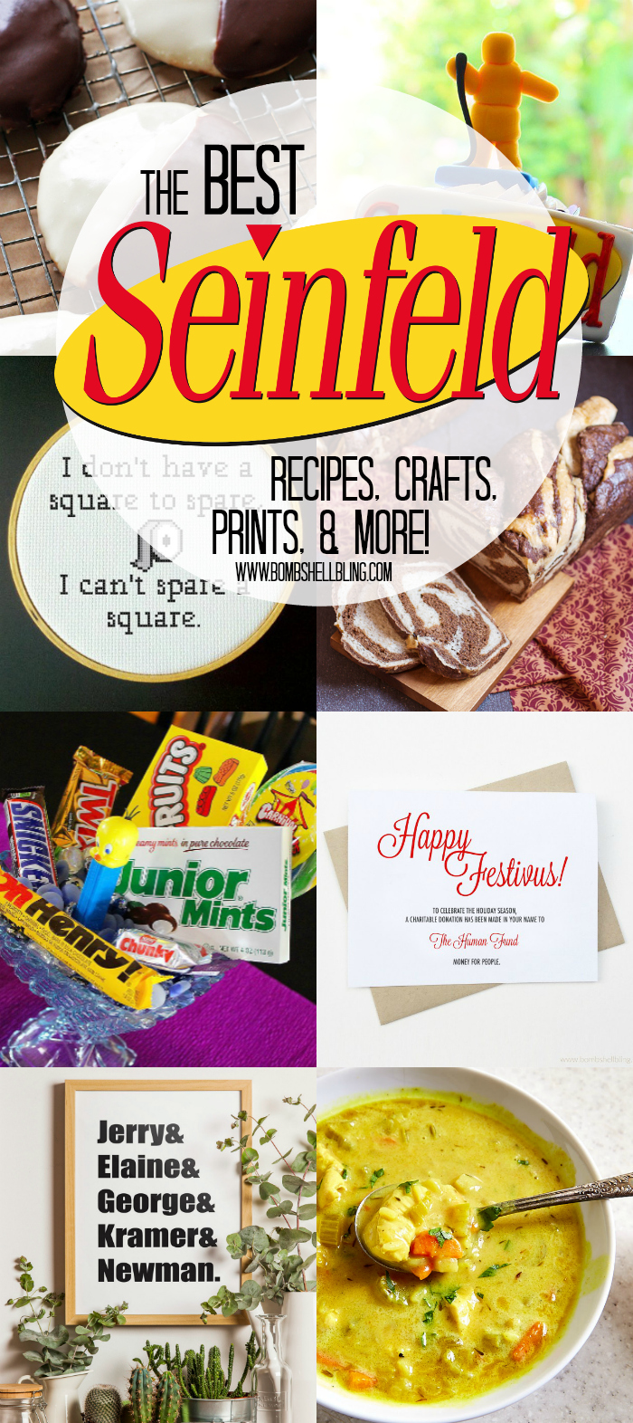 Here is a roundup of the very best Seinfeld recipes, crafts, printables, and more! Sure to make you giggle AND inspire you.