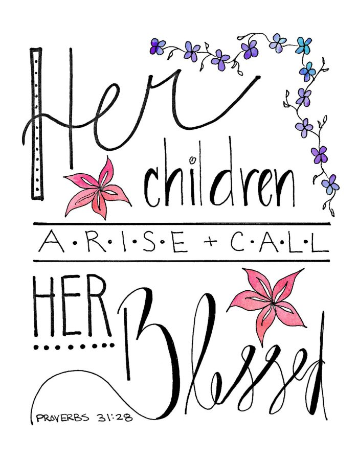 This lovely Her Children Call Her Blessed printable is based on the scripture Proverbs 31:28. Perfect for Mother's Day!