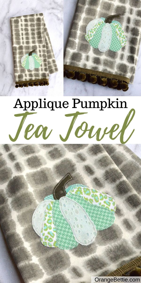 This applique pumpkin tea towel brings a fall vibe to your kitchen.  I'm loving the mix of patterns on the different sections of the pumpkin!