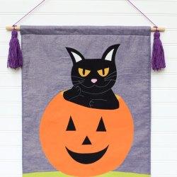 Halloween Black Cat Banner