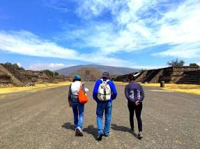 My parents and Yaya walking to Pyramid of the Moon