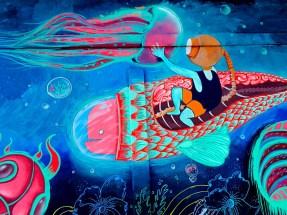 North Bogota Street Art Riding a Fish