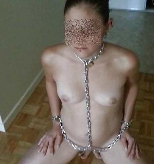 Chienne débutante mais motivée offerte par son mec pour plan BDSM