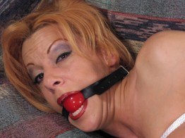 Amateur Wife bound and gagged in Corset, Stockings and High Heels