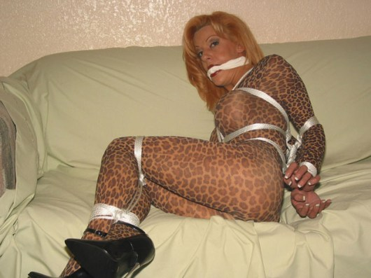 Awesome Wife tightly bound and gagged at Home