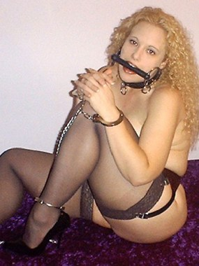 Curly Amateur Blond is tied up and gagged naked