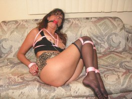Horny Wife tightly bound and gagged in Pantyhose