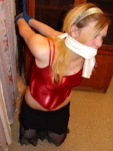 Kinky Russian Girlfriend gagged and tied up on her Knees