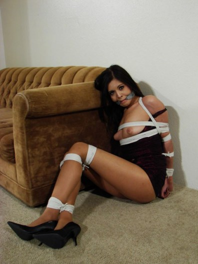 Petite Chick gagged with Bandana in tight Bondage
