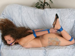 Sexy young Wife tightly hogtied and Ball Gagged at Home