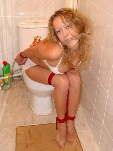 Slutty Housewife gets tied up in Toilet for Punishment
