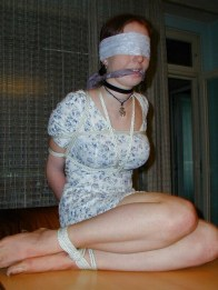 Sweet young Girlfriend blindfolded, gagged and bound