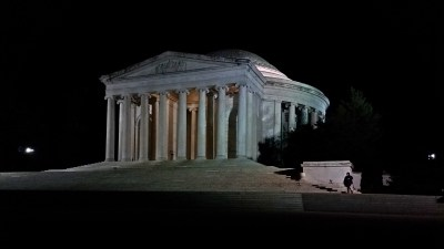 The Jefferson Memorial at night. Jennifer is down in the lower right corner.