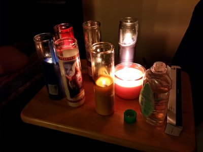 The group of candles that we used: several different jar candles, and some long candles.