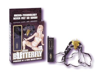 Gold Micro Butterfly Vibrator Has Detachable Adjustable Harness