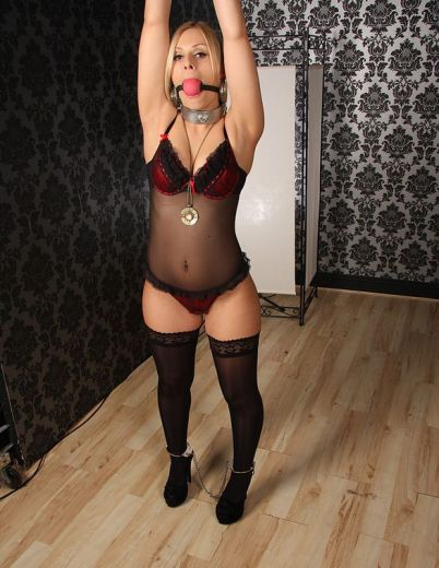 Beautiful Blonde in Lingerie Gets Chained, Ball Gagged and Punished Hard