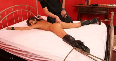 Beautiful Brunette Slave Gets Spread, Restrained and Penetrated Hard