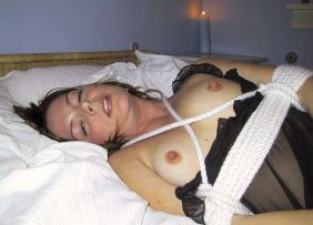 Beautiful Girlfriend in Lingerie Gets Bound in Bedroom for Fun