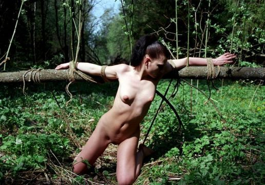 Beautiful Young Amateur Stripped and Bound in the Woods