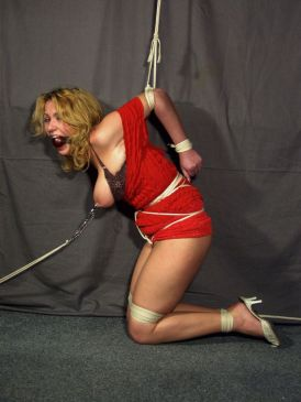 Curvy Blonde Tightly Bound, Gagged and Tortured by Her Cruel Mistress
