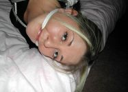 Cute Blond Girlfriend Gets Tightly Bound and Gagged in the Bedroom