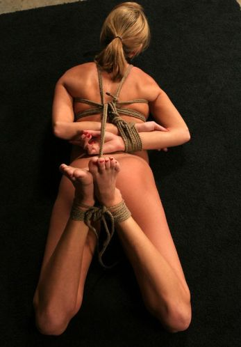 Cute Blond Slave Hogtied, Ball Gagged and Degraded in the Dungeon