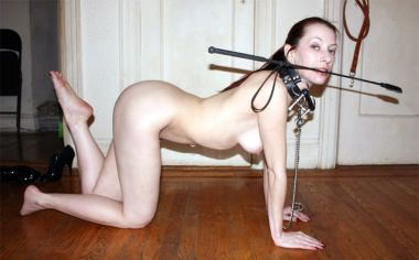 Gorgeous Redhead Gets Stripped, Collared, Bit Gagged and Trained Hard