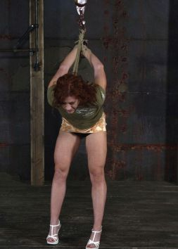 Gorgeous Redhead Gets Whipped, Hooded and Tortured Hard in the Dungeon