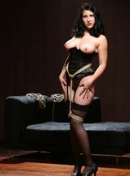Gorgeous Retro Brunette in Corset Gets Tightly Bound and Stripped