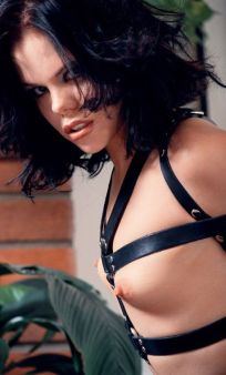 Gorgeous Young Brunette Gets Tightly Bound, Harnessed and Ball Gagged