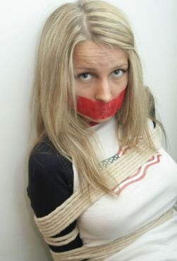 Hot Blond Girlfriend Bound and Tape Gagged by Her Boyfriend for Fun