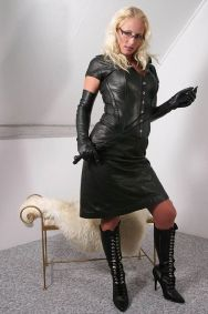 Hot Blonde in Leather Gets Harnessed, Gagged and Tightly Bound for Fun