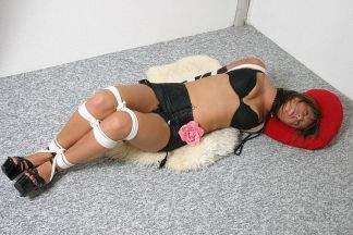 Hot Brunette in Leather Gloves Hogtied and Gagged for Fun