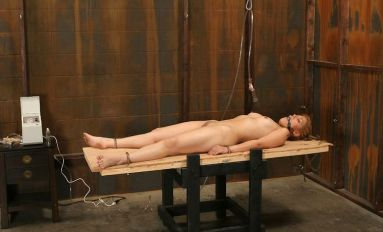 Hot Young Blonde Restrained, Gagged and Tortured Hard in the Dungeon