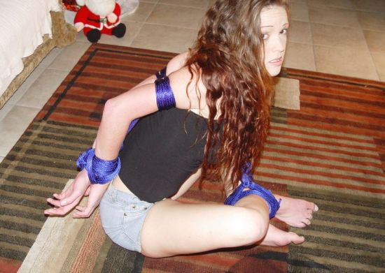 Hot Young Girlfriend Gets Bound and Ball Gagged at Home for Fun