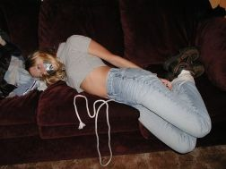 Pretty Blond Girlfriend Tape Gagged and Tightly Bound at Home for Fun