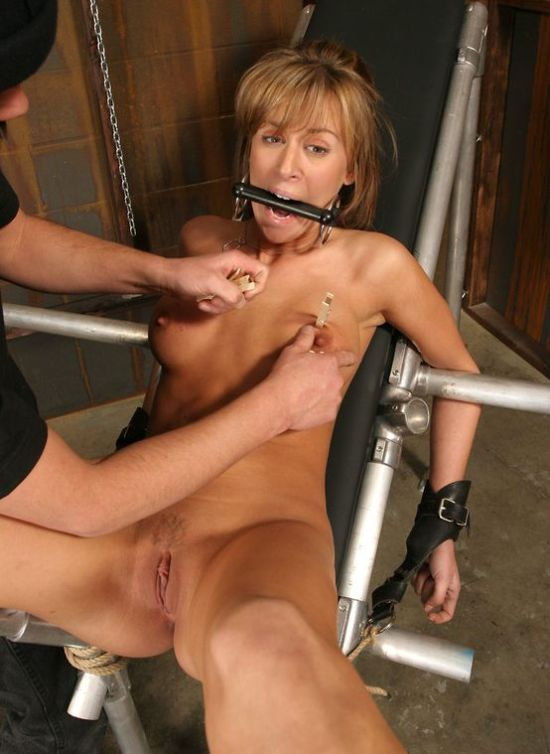Pretty Blond Slave Gets Spread, Restrained and Tortured in the Dungeon