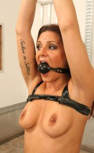 Pretty Brunette Slave Gets Ball Gagged, Bound and Whipped for Fun