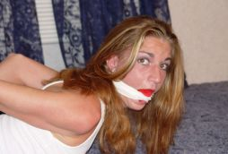 Sexy Blond Girlfriend Bound, Gagged and Blindfolded by Her Boyfriend