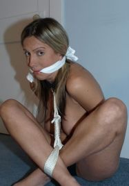 Sexy Blond Girlfriend Gets Stripped, Bound and Cleave Gagged for Fun
