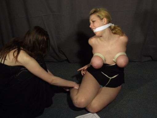 Sexy Blond Slave Cleave Gagged, Bound and Punished by Her Hot Mistress