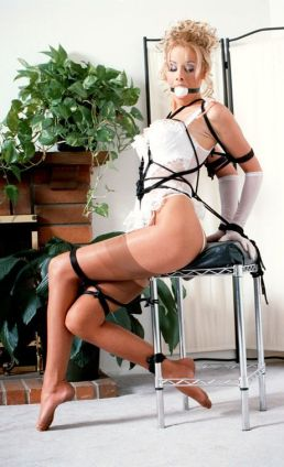 Sexy Blonde in Lingerie and Stockings Ball Gagged and Tightly Bound