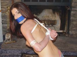 Sexy Young Girlfriend Gets Bound and Gagged by Her Boyfriend at Home