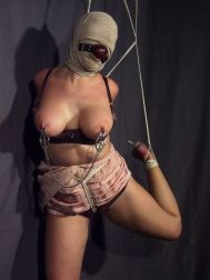 Young Blonde Restrained, Hooded and Tortured by Her Kinky Mistress