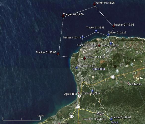 Suivi de l'avion DHC-8 détecté par le radar de Puerto Tico - données obtenues grâce au Freedom of Information Act Request. (Credit: SCU)