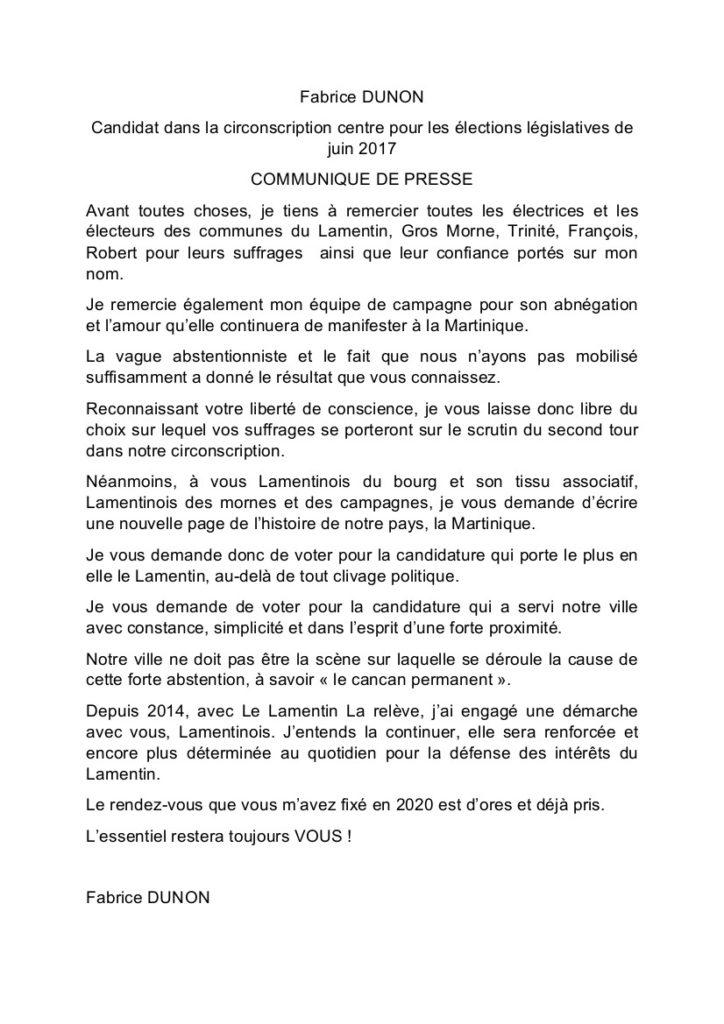 communique de presse de Fabrice Dunon