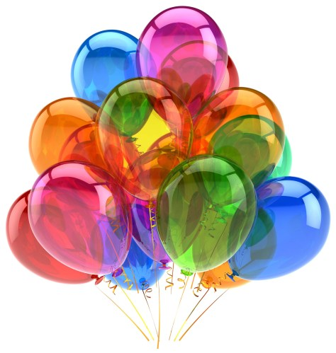 Balloons party birthday balloon decoration colorful translucent. Happy joy fun positive good emotion concept. Holiday anniversary retirement celebration icon. 3d render isolated on white background