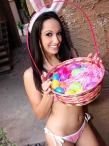 lingerie girl with easter eggs