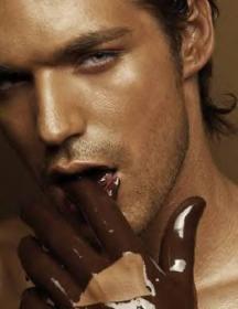 man licking chocolate